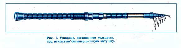 Рис.1. Удилище, оснащённое кольцами под открытую безынерционную катушку.